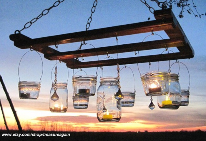 Recycled Pallet and Glass Jars Chandelier