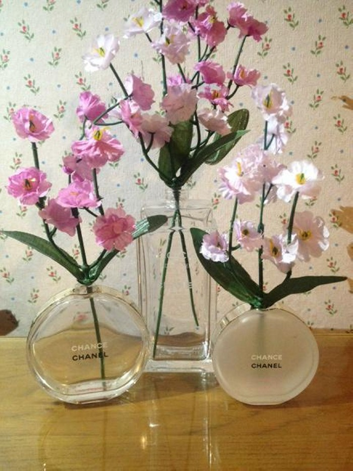 Recycled Perfume Bottle Flower Vase