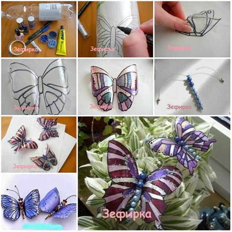 Recycled Plastic Bottles into Elegant Butterflies