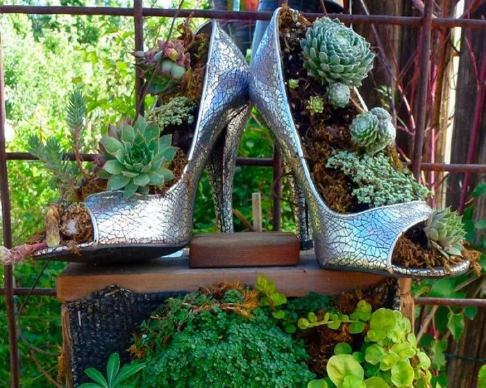 Recycled Shoes Flower Pot