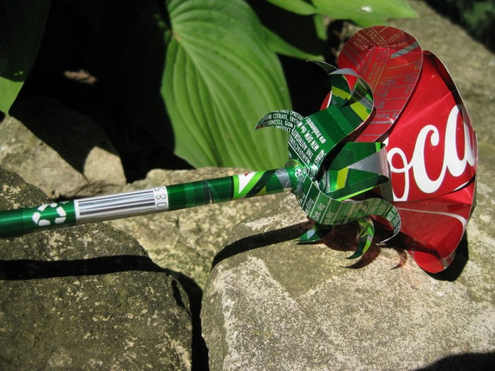 Recycled Tin Can Beautiful Red Rose
