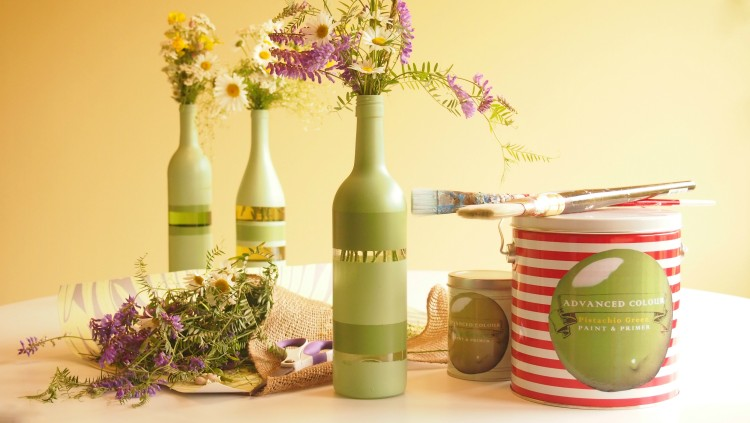 Recycled Wine Bottle Decorating