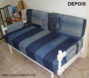 Recycling Denim Jeans Sofa Cover