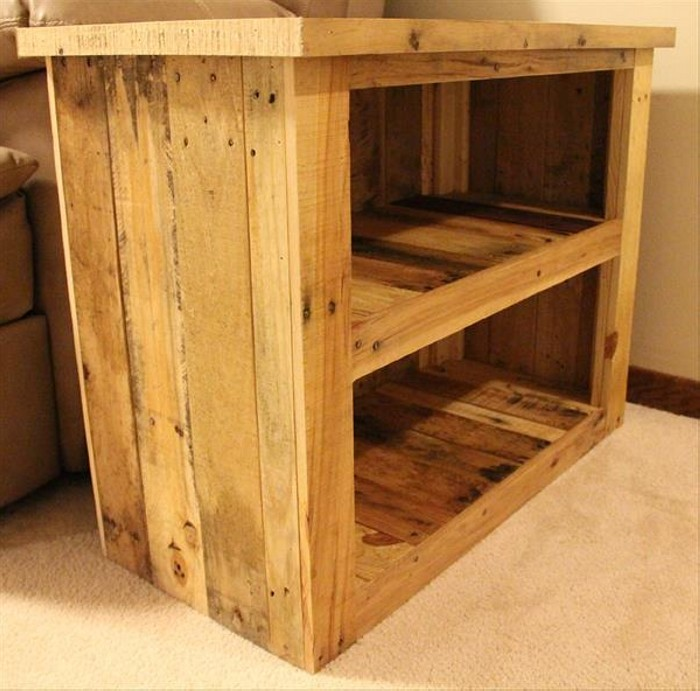 Rustic Pallet Storage Side Table