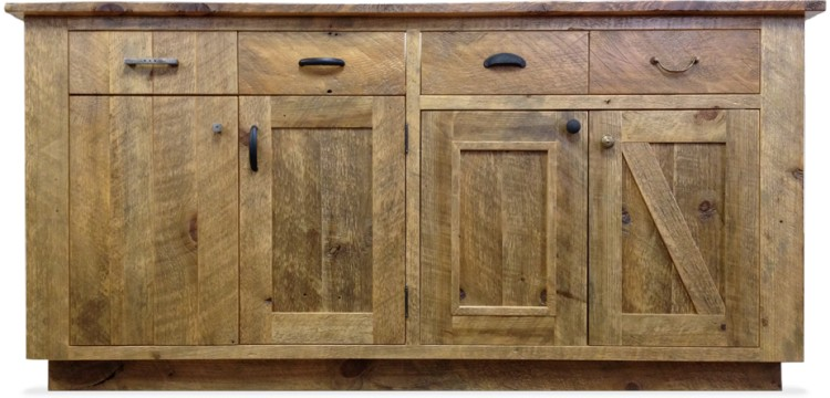 Simple Kitchen Cabinets Made From Reclaimed Wood