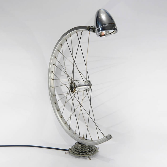 Upcycled Bike Wheel Lamp
