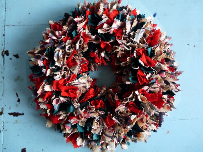 Upcycled Fabric Wreath