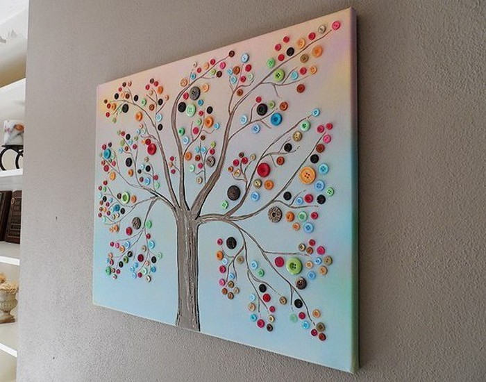 Crafts For Home Decoration Ideas Part - 31: Button Tree For Wall Decor