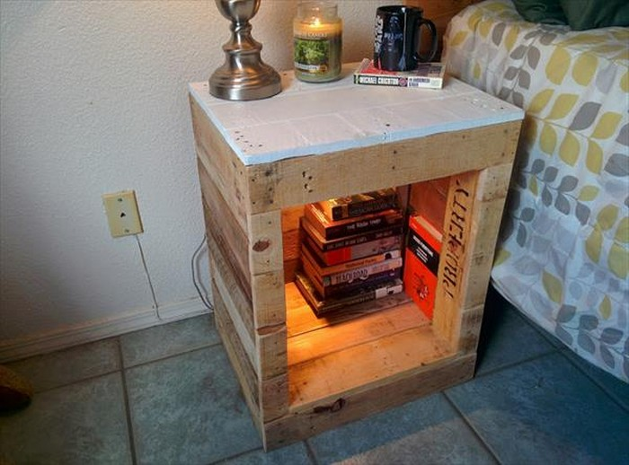 Wooden pallet nightstands recycled things Things to use as nightstands