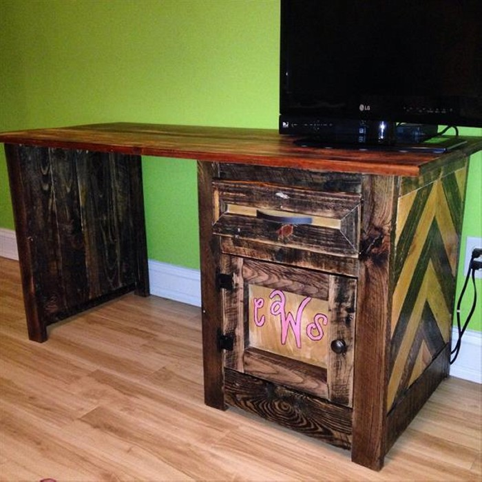 Diy Wooden Desk ~ Diy pallet computer desks recycled things