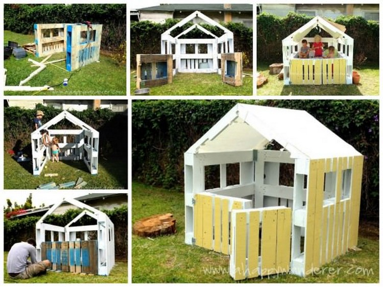 Wooden pallet kids playhouse plans recycled things for Easy to build playhouse