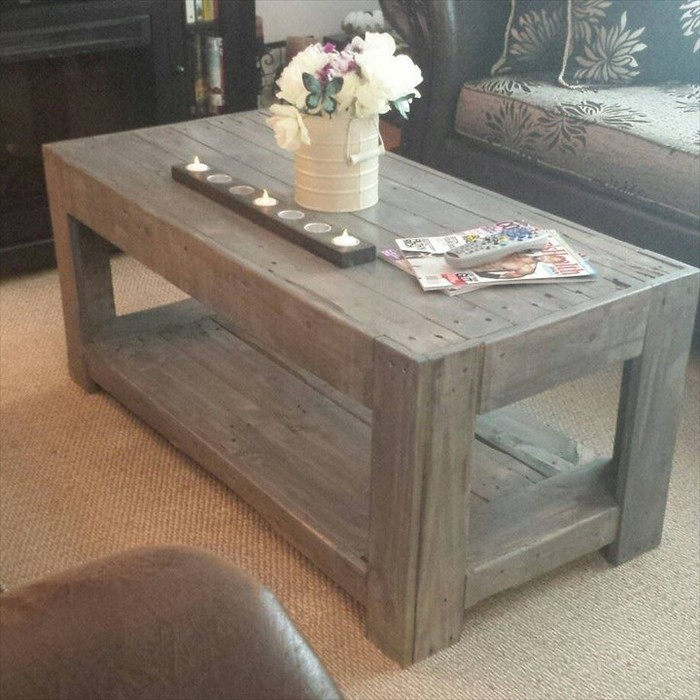 Pallet coffee table plans recycled things Homemade coffee table plans