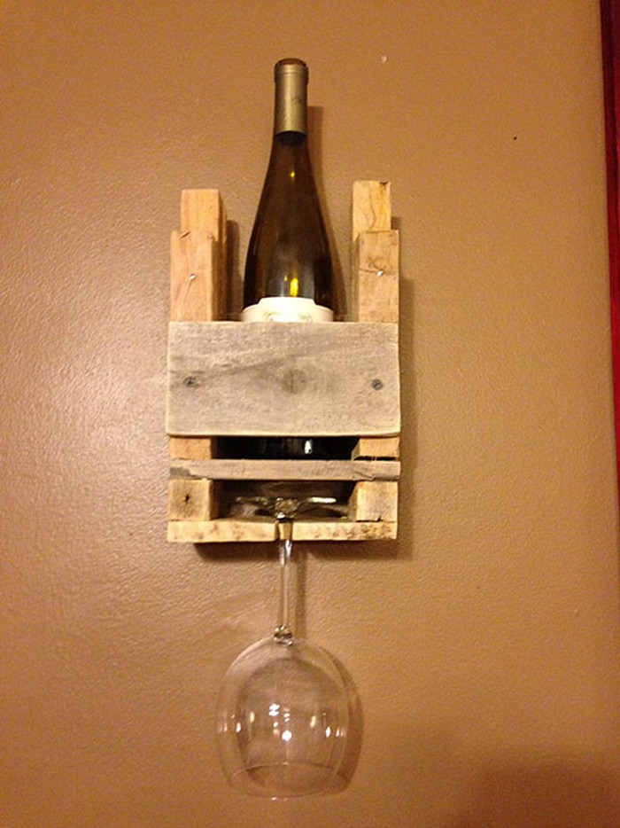 Pallet Wine Racks With Glass Holder Recycled Crafts