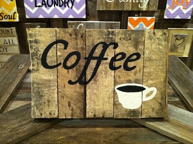 Pallet Coffee Sign Board