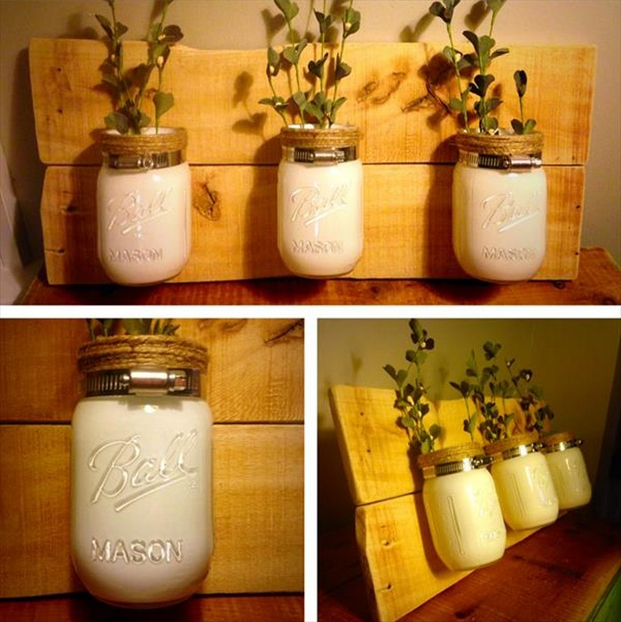 Pallet Mason Jar Vases for Wall Decor