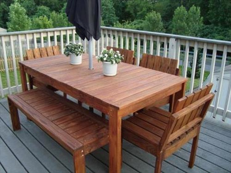 Pallet Patio Bench Pallet Patio Dinning Table Pallet Patio Furniture Pallet  Wood ...