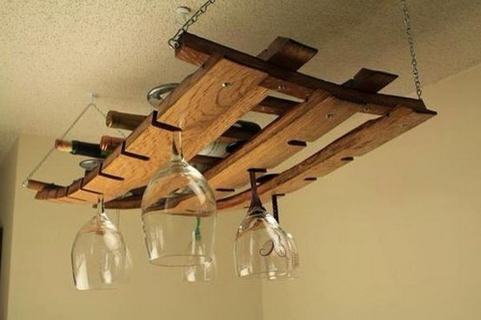 Pallet wine racks with glass holder recycled things Hanging wooden wine rack