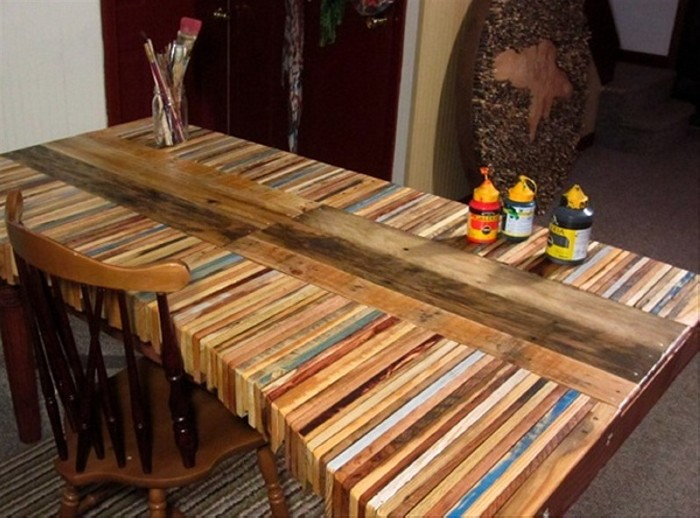 Diy recycled pallet dining tables recycled things for Pallet furniture projects