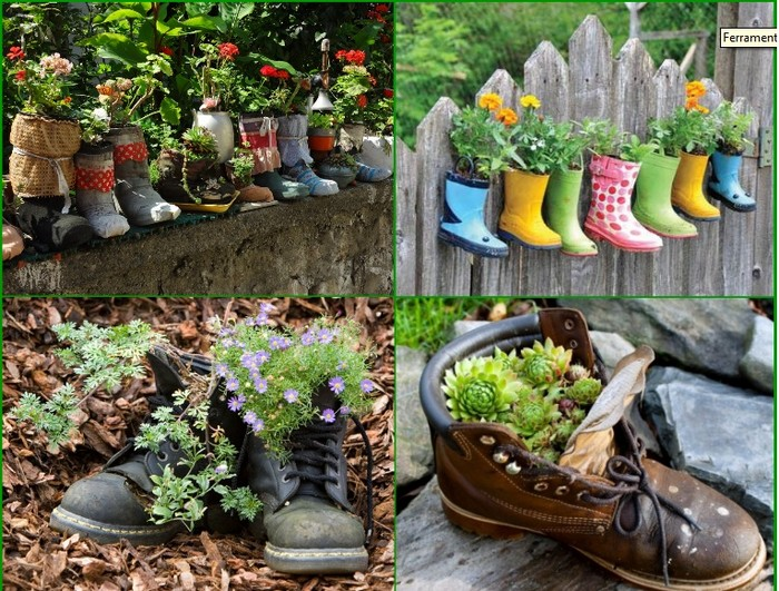 Ways to recycle shoes for planters recycled things - Easy ways of adding color to your home without overspending ...