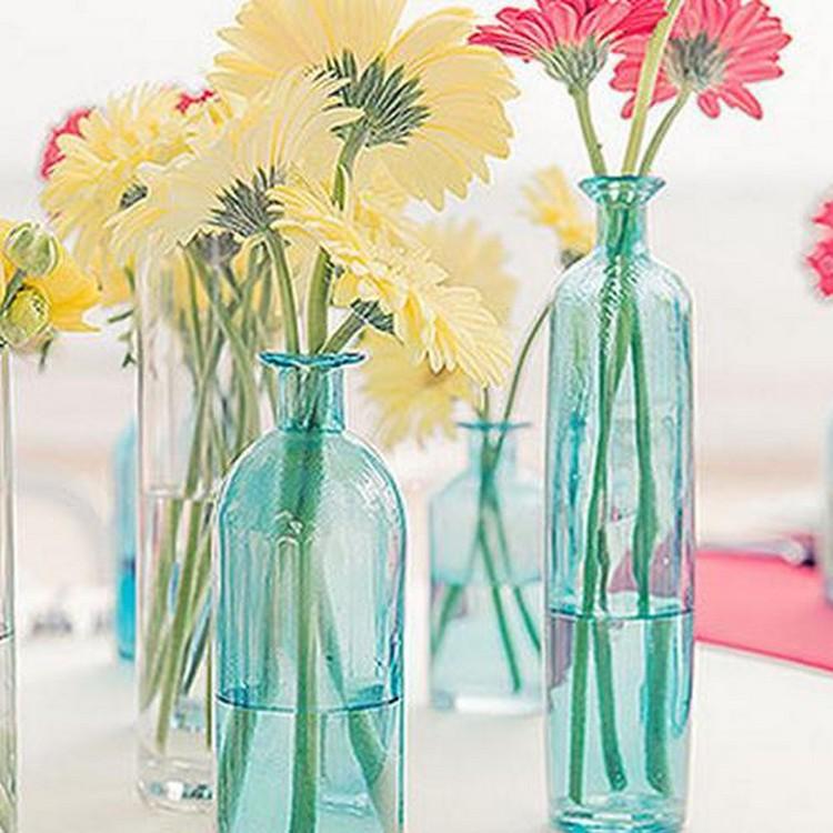 Recycled Glass Bottles Flower Vase