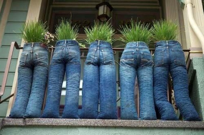 Recycled Jeans Funny Planters