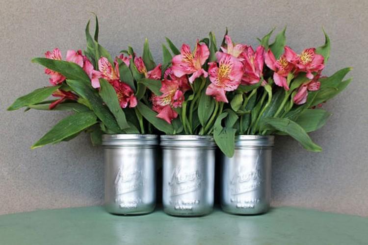 Recycled Mason Jars Flower Vase