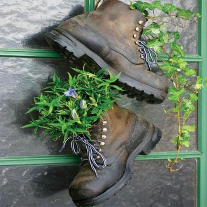 Recycled Old Shoes Hanging Planter