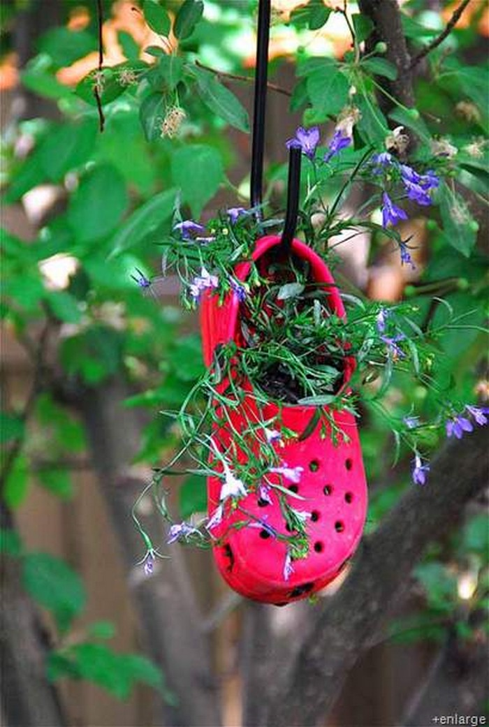 Recycled Shoes Hanging Planter