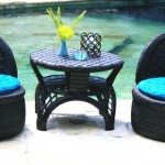 Recycled Tires Round Table and Chairs