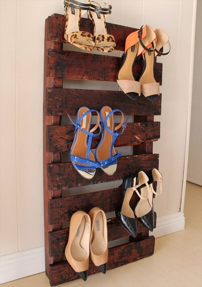 DIY Pallet Wood Shoe Rack Recycled Things