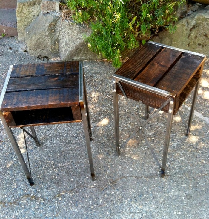 Wooden Pallet End Tables with Metal Legs