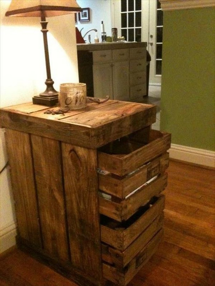 Wooden Pallet Nightstand Idea