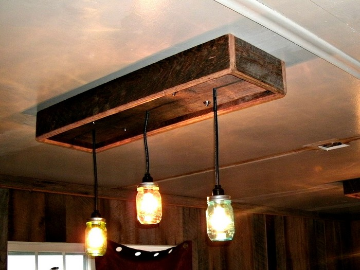 DIY Pallet Chandelier with Glass Jars