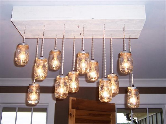 DIY Pallet Chandelier with Mason Jars