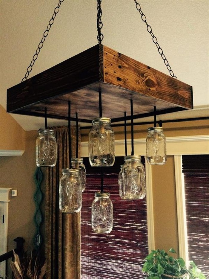 DIY Pallet Chandeliers With Mason Jars Recycled Things