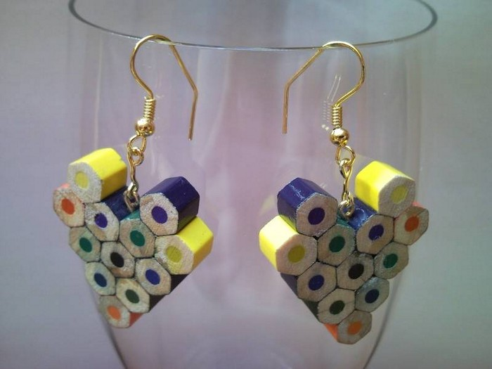DIY Upcycled Colored Pencil Earrings