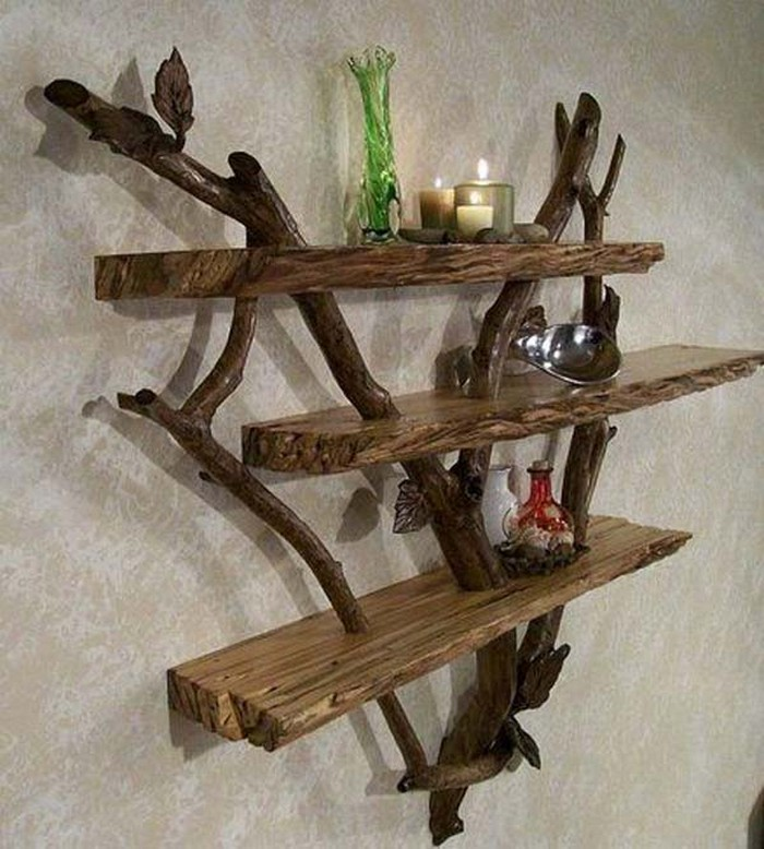 10 awesome driftwood crafts ideas recycled things - Amazing shelves ...