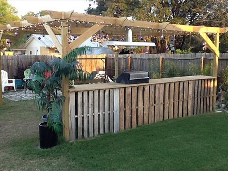 ... Outdoor Pallet Bar ... - Recycled Pallet Patio Bar Plans Recycled Things