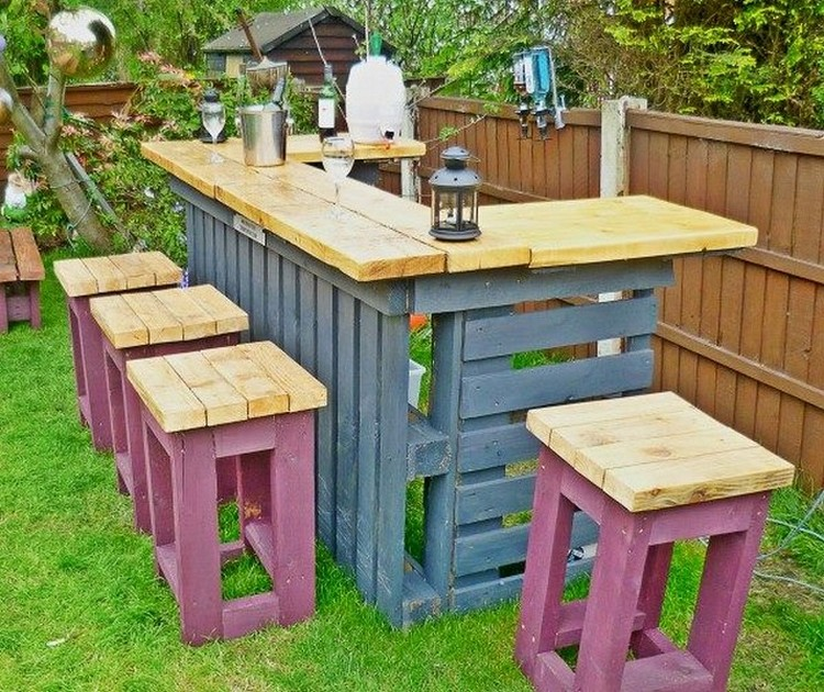 Recycled pallet patio bar plans recycled things for Amenagement jardin palette