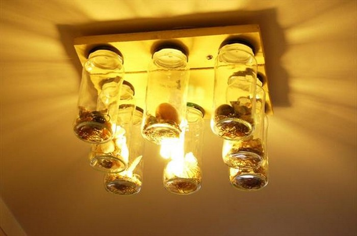 Pallet Chandelier with Mason Jars