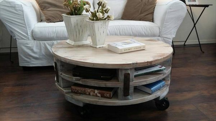 Diy Pallet Round Coffee Table Plans Recycled Things