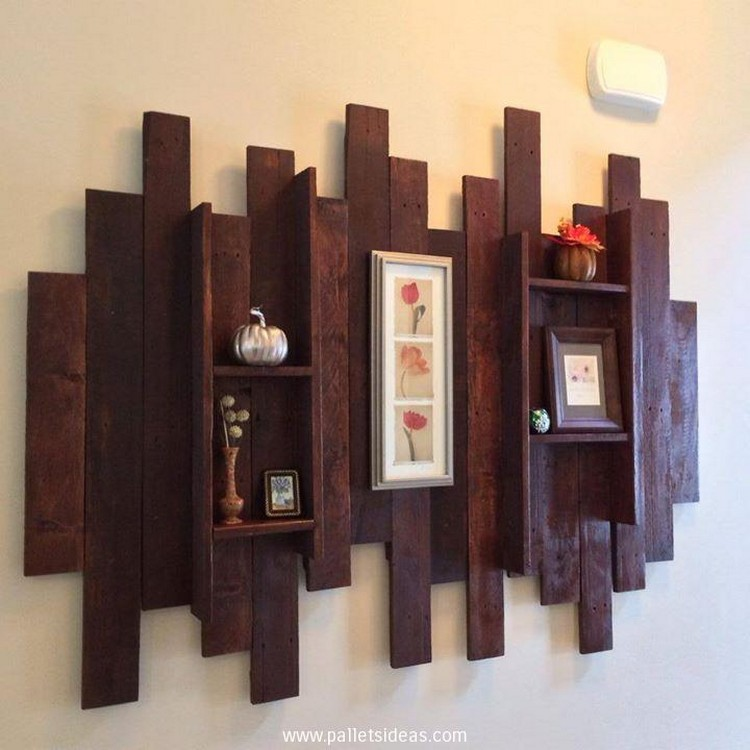 Pallet shelves for wall decor recycled things for Wooden art home decorations