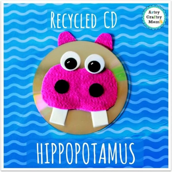 Recycled CD Hippopotamus