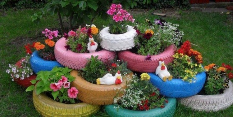Recycled Colorful Tires Planter