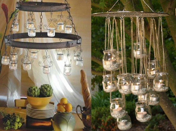 Recycled Glass Jars Chandeliers