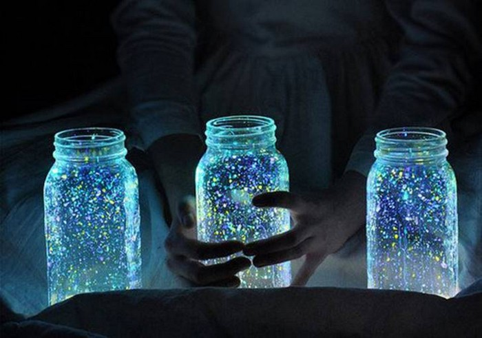 Recycled Glass Jars Fairy Glow