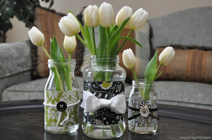 Recycled Glass Jars Flowers Vase