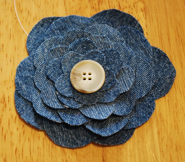 Recycled Jeans Flower with Button