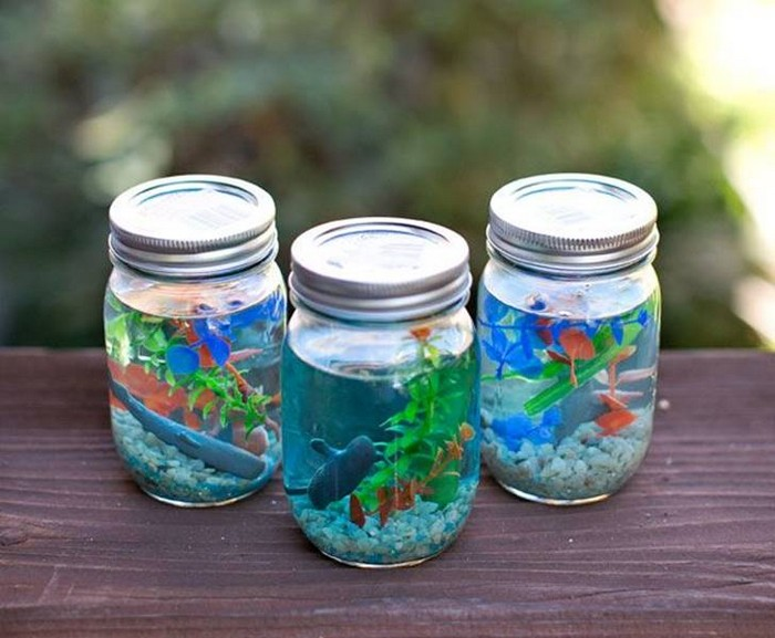 Recycled Mason Jars Aquarium