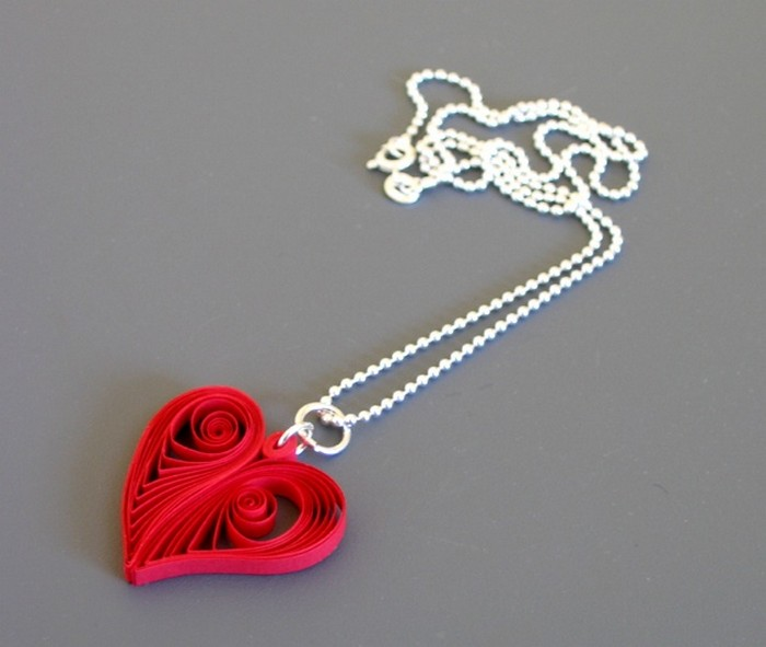 Recycled Paper Heart Shape Nacklace